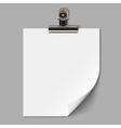 Blank sheet of paper with clamp vector image