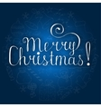White christmas lettering on blue background with vector image