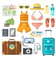 Summer vacation symbols beach travel holiday vector image