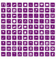 100 events icons set grunge purple vector image vector image