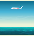 Aircraft airplane in empty sky under ocean sea