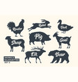 Animals silhouette set black-white silhouette of