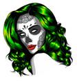 black and white skull candy girl vector image vector image