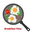 breakfast - fried eggs vegetables on pan vector image vector image