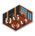 cafe restaurant isometric interior vector image vector image