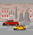 cartoon car air pollution concept card poster vector image vector image