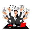 cartoon secretary girl multy task vector image vector image