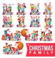 christmas family portrait set full happy vector image vector image
