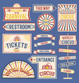 circus labels carnival show banner vintage label vector image vector image