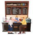 coffeehouse interior view men and barista vector image vector image
