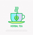 cup with herbal tea thin line icon vector image