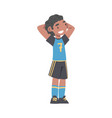 cute kid soccer player character happy african vector image