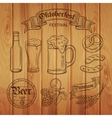 Decorative hand draw beer icons and wood vector image vector image