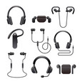 earphones icon set vector image