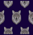 embroidery wolf head seamless pattern vector image