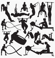 fitness gym equipment silhouettes vector image vector image