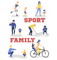 flat family characters doing sports set vector image vector image