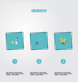 flat icons besom gauntlet means for cleaning and vector image vector image
