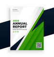 geometric green abstract annual report flyer vector image vector image