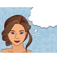 Girl think with speech bubble on floral background vector image vector image