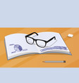 glasses and notebook with data vector image