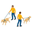 isometric man with a dog on a leash man and dog vector image vector image