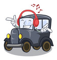 listening music old cartoon car in side garage vector image