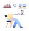 man sleeping on table tired male modern vector image vector image