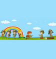 many kids in scout uniform having fun in park vector image vector image
