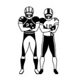 men players american football on white background vector image vector image