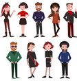 modern beautiful people dressed in trendy clothes vector image