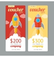 Modern Gift Voucher with Rocket Fly vector image vector image