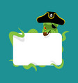 octopus pirate and blank sign poulpe buccaneer vector image