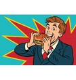 Pop art man eating a Burger vector image vector image