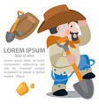 prospector cowboy wild west cartoon character of vector image vector image