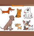 purebred cartoon dog characters set vector image vector image