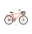 red bicycle with black basket bike isolated on vector image