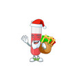 santa red test tube cartoon with sacks gifts vector image vector image