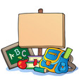 school theme with wooden board vector image vector image