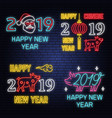 set 2019 happy new year neon sign with pig vector image