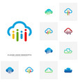 set of people cloud logo design concept modern vector image vector image