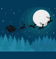 silhouette of santa claus on a sleigh with deer at vector image