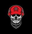 skull head with headphones vector image vector image