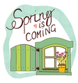 spring card with window and flowers vector image vector image