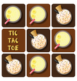 Tic-Tac-Toe of coffee frappe and banana smoothie vector image