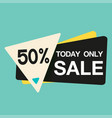 today only sale 50 triangle blue background vector image vector image