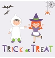 Trick or treat Halloween card with two kids