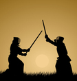 Two men engage in martial arts vector image