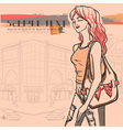 Urban view and slender sexy girl in jeans vector image vector image