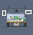 aquarium natural aquarium with fish and plants vector image vector image